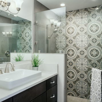 Custom Walk-In Shower and Vanity in Bathroom