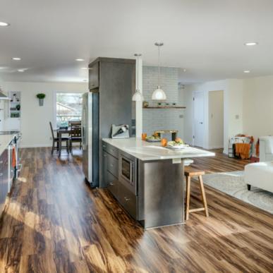 Open Concept Kitchen and Bar Integrates with the Rest of the House