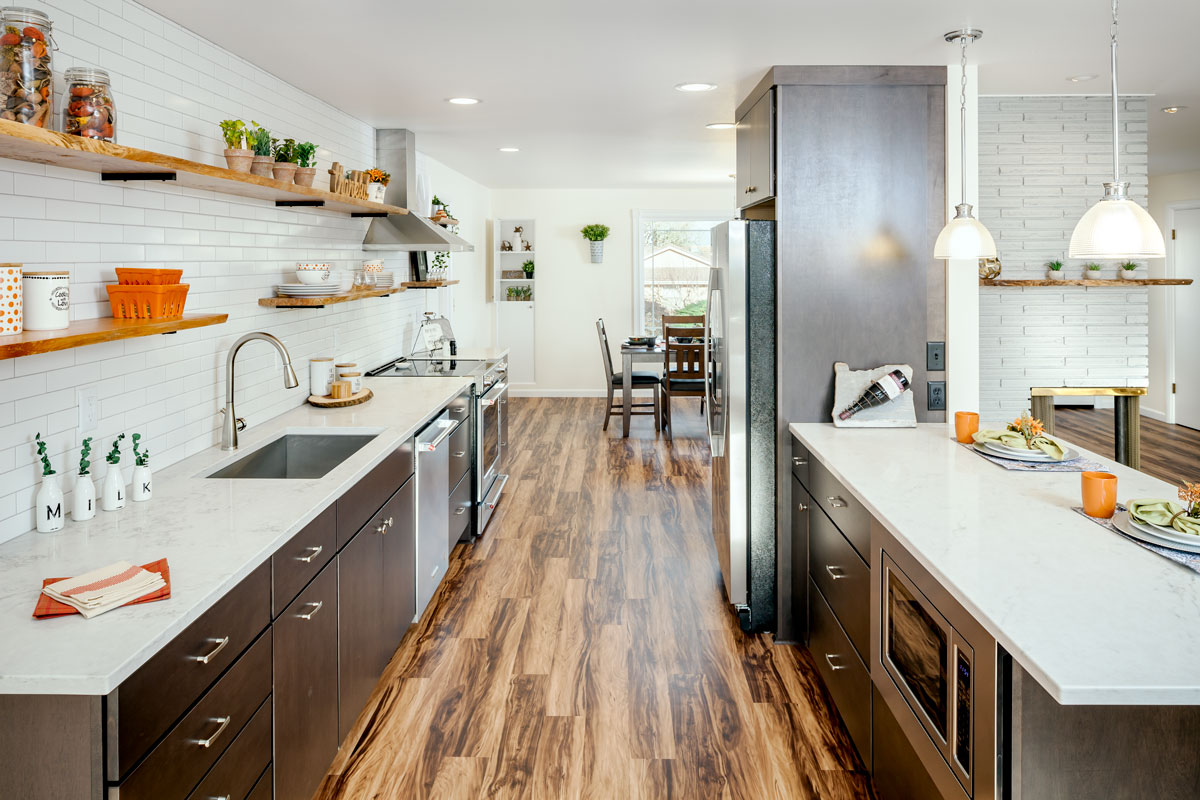 Custom Kitchen Galley-Style Kitchen with Bar