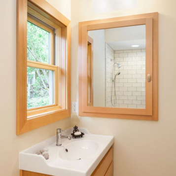 Natural wood with built-in medicine cabinet in bathroom