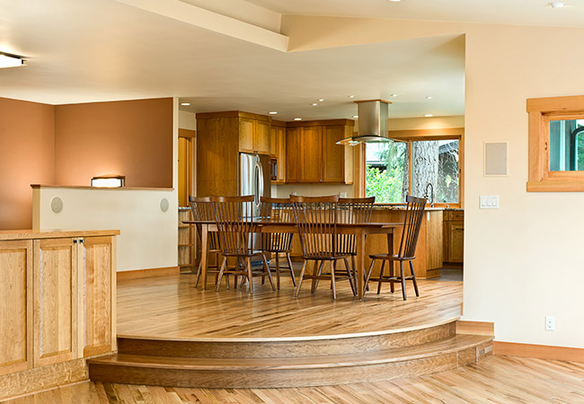 Warm wood and counters make this kitchen inviting