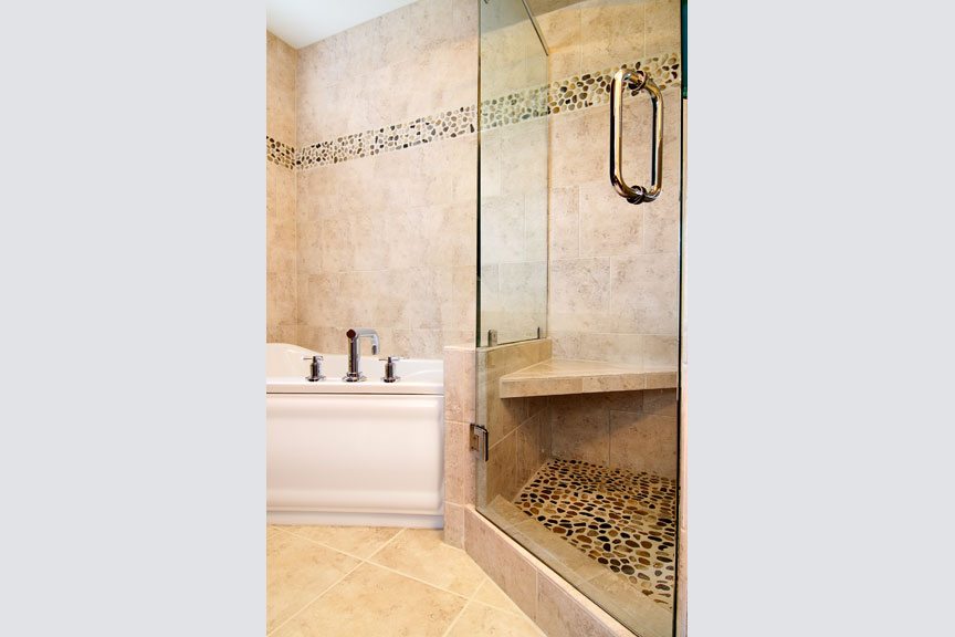 Separated shower and tub combo