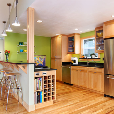 Natural wood and bold colors bring life to this kitchen