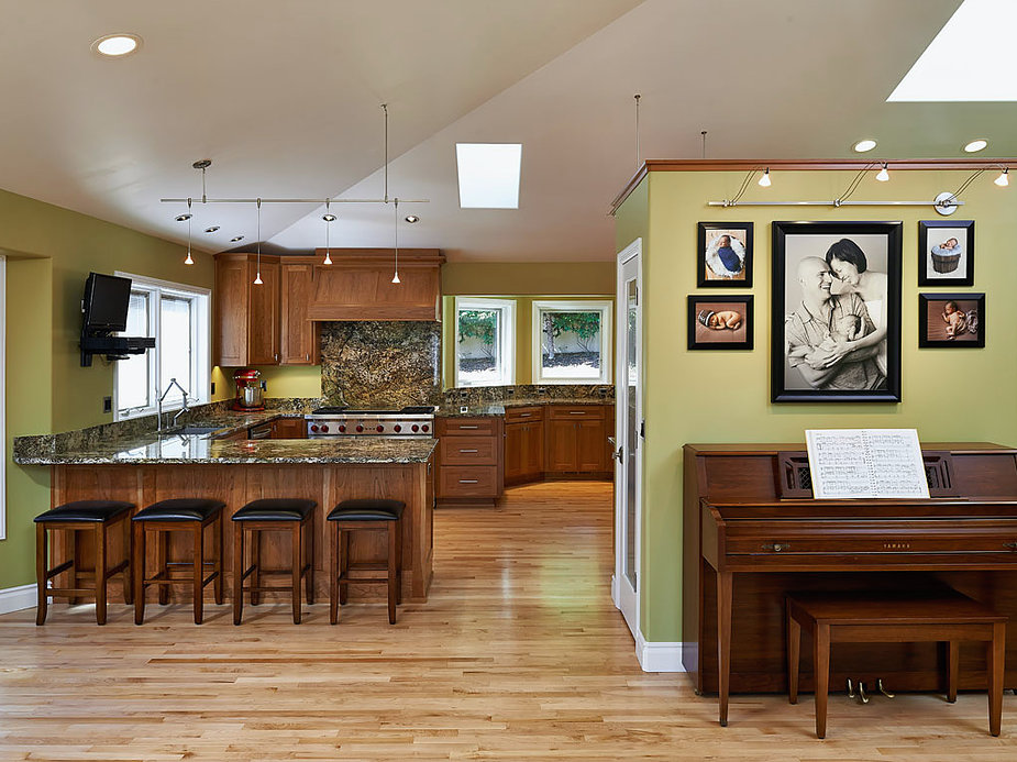 Opening the ceilings and installing skylights was part of this kitchen remodel by W.L. Construction in Corvallis, Oregon.