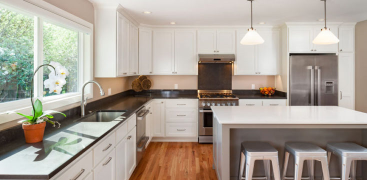 From fixer-upper to new modern kitchen with new windows and custom cabinets, as remodeled by W.L. Construction in Corvallis, Oregon.