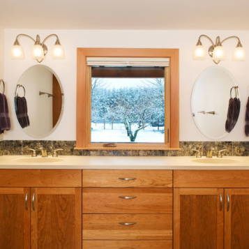 Custom solid-wood double vanity