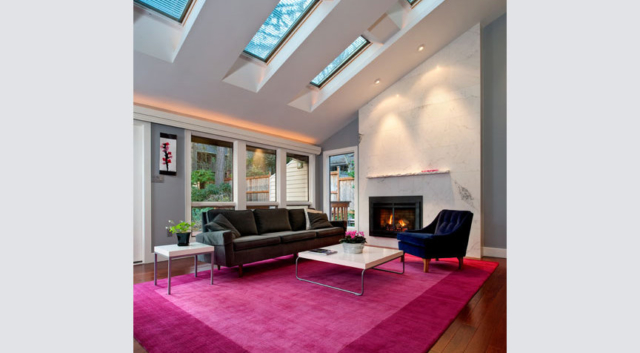 Living room remodel with skylights by Lars Campos of W.L. Construction, Inc., in Corvallis, Oregon.