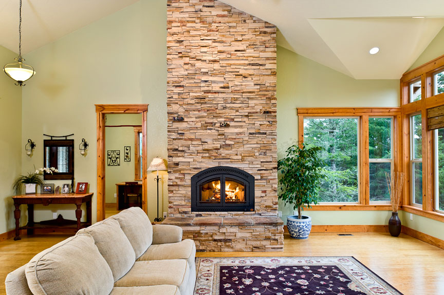 Simple design elements like this stone fireplace make the home more comfortable.