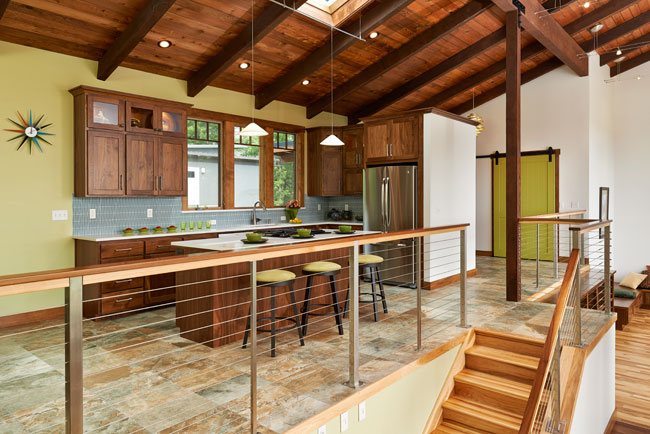 Kitchen remodel in split-level home by W.L. Construction in Corvallis, Oregon.