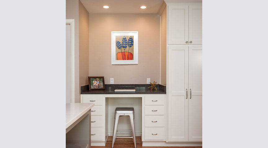 Built-in desk as part of a kitchen remodel by W.L. Construction in Corvallis, Oregon.
