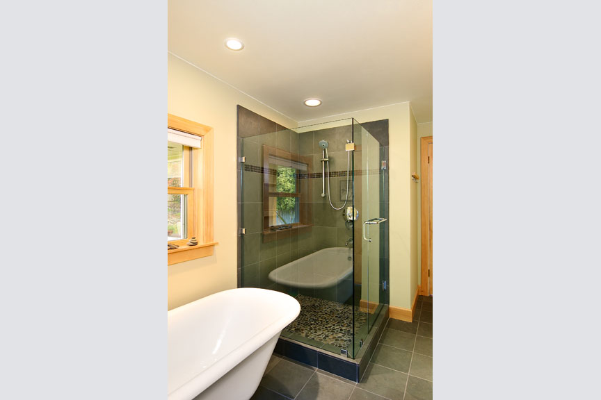 Custom shower and stand alone tub