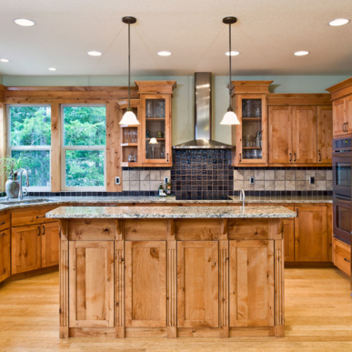 The huge kitchen space features a range of high-quality, sustainable materials.