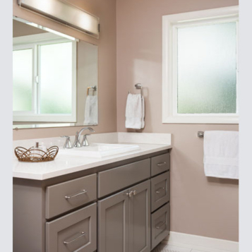 Bathroom remodel with new tile, paint and fixtures by W.L. Construction in Corvallis, Oregon.