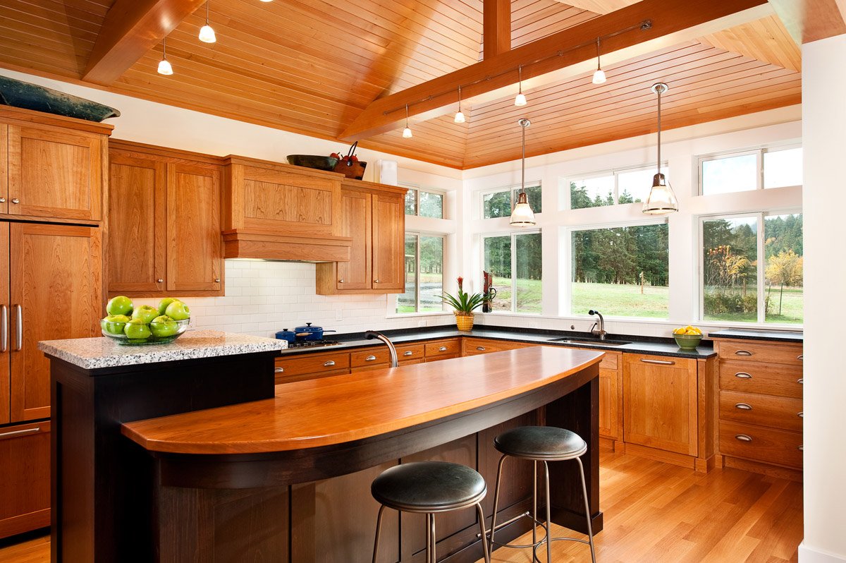 Warm, inviting wood-rich kitchen