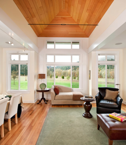 Gorgeous ceiling paneling was made from salvaged Columbia River boom logs.