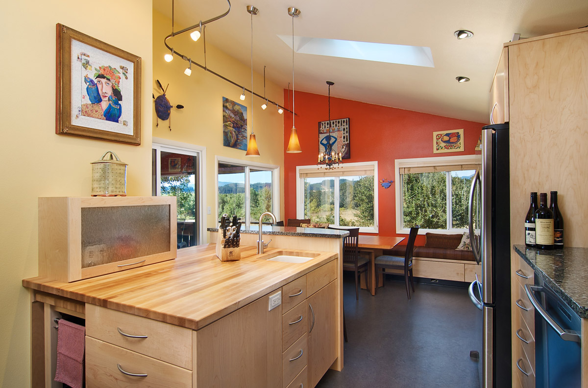 Vibrant Kitchen with butcher block counter